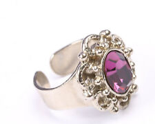 Silver Tone Ring with Purple Crystal, Vintage 1950s, Size O