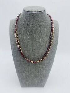 Vintage Liz Claiborne Chain Collar Necklace Choker Glass Purple Red Seed Bead