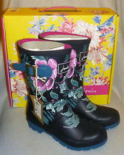 Joules Welly French Navy Christmas Camellia Wellingtons Wellies Festival Size 3