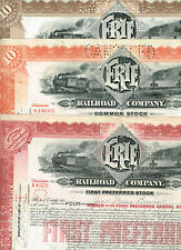 Set 3 Erie Railroad Co., 1920-30s, tax-stamps, nice set, VF