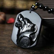 Charm Fashion Men Jewelry Carving Wolf Head Pendant Black Obsidian Necklace