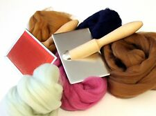 Hand Carders Mini Craft Hand Cards + 100g Fibres Felt making spinning Boxed