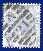1881 SG157 2½d Blue Plate 22 TA Good Used London District N21 Duplex admq