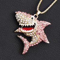 Women's Pink Enamel Crystal Shark Animal Pendant Chain Betsey Johnson Necklace
