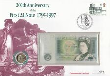 GB MERCURY PNC COVER 1997 FIRST £1 NOTE ANNIVERSARY ONE POUND NOTE & COIN