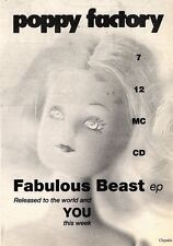 24/8/91 Pgn16 Advert: Poppy Factory New Single fabulous Beast Chrysalis 7x5