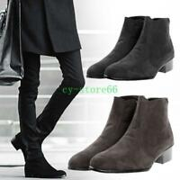 Mens Chic Winter Suede British High Top Casual Ankle Boots Cuban Heel Zip Shoes