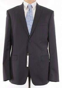 Versace NWT Suit Size 42L In Black With Gray Pinstripes