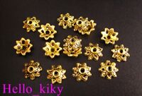 250Pcs Antiqued gold plt dotted flower bead caps 9mm A14