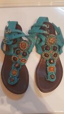 Women's Breckelles Carina-04 Blue Ankle Strap Flat Thong Sandals 71/2