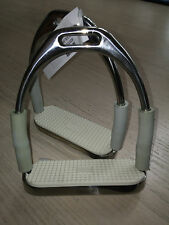 NEW CORONET FLEXI JOINTED STAINLESS STIRRUP IRONS with WHITE pads -GREY sides 5""