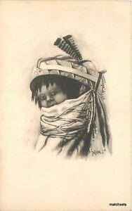Artist impression C-1910 Native American Indian Child Moki postcard 8598