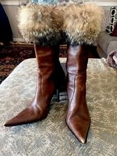 Les Copains Brown Leather Boots with Fur Made In Italy Size 38 - Size 7 -71/2