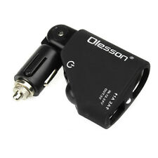 Black Dual 2 USB Car Cigarette Lighter Socket Power Adapter Charger DC 12-24V