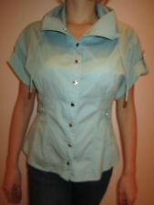 Karen Millen blue aqua top blouse cotton shirt size M Medium / UK 10 / US 6