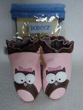 Robeez Owl Baby Girl 18 24 Months Shoes Pastel Pink Brown Leather New
