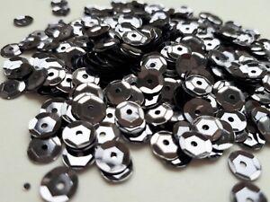 Pailletten dunkel Silber metallic gewölbt 6 mm, 15g, basteln, nähen Styropor  E9