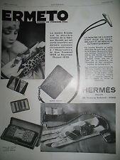 PUBLICITE DE PRESSE HERMES SELLIER MONTRE ERMETO MOVADO ECRIN LUXE AD 1929