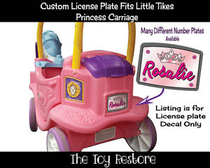 Pink Crown License Plate Decals fits Little Tikes Princess Carriage Ride-on Toy