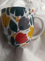 "Crate Barrel White Green Red Yellow Grey Floral Design 4"" Ceramic Coffee Tea Mug"