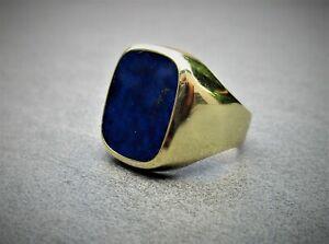 Herren Gold Siegel Ring, 585 , mit Lapislazuli ( 62 (19,7 mm) ) gut erhalten