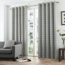 BURTON CHECK STRIPED RING TOP LINED PAIR EYELET CURTAINS GREY BLUE CREAM