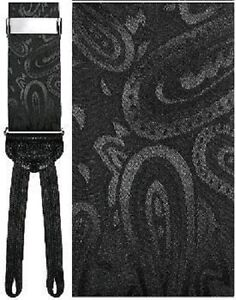 Black Silk Paisley Suspenders with Silver Hardware and Woven Ends