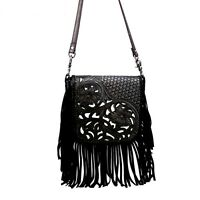 Montana West Handbag 100% Genuine Leather Tooled Fringe Cross Body Bag Purse