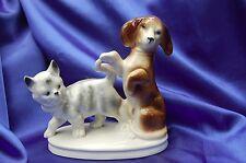 Vintage porcelain Foreign Doxie Dachshund dog plays w Tabby kitty blue eye cat *