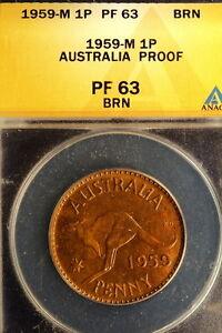 1959-M ANACS Pr63 Brown Australia KM-56 Mintage 1,506 Penny