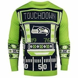 Seattle Seahawks Lite Up Light Ugly Patches Christmas Sweater NEW All Sizes