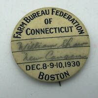 Rare 1930 Farm Bureau Federation Boston Connecticut Signed Badge Pinback  N9