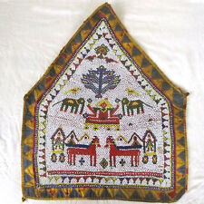 ANTIQUE THOUSANDS OF BEADS WATER POT CLOTH ELEPHANTS HORSES ETC HANDWOVEN INDIA