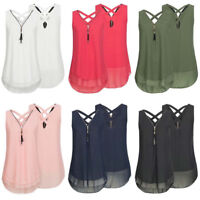 Womens Summer Chiffon Sleeveless Vest Shirt Blouse Ladies Tops Plus Size S-5XL C