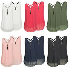 Womens Summer Chiffon Sleeveless Vest Shirt Blouse Ladies Tops Plus Size S-5XL A