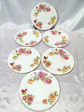 Hammersley Morgan's Rose 6 Salad Side or Luncheon Plates Gold Trim & Roses