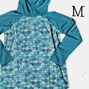 NWT LuLaRoe Amber Hoodie MEDIUM Mermaid Scales Teal Blue Pink Sweatshirt NEW
