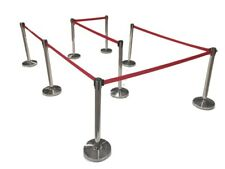 "(8) Pack of Retractable Crowd Control Barrier Posts / Stanchions 6'6"" Strap"