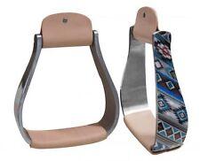 """Showman Aluminum Barrel Racing Show Holographic Navajo Saddle Stirrups 3""""neck"""