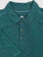 Tommy Bahama Polo Shirt XLarge Mens Teal Green Heathered Short Sleeve Golf
