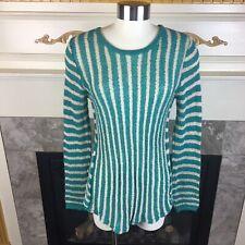 New POOF L Green Beige Vertical Stripe Long Sleeve Half Open Back Knit Sweater
