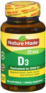 Nature Made D3 1000IU Vitamin D Supplement Liquid Softgels 180 Counts