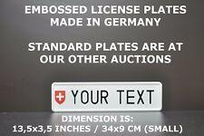 Swiss Small Euro European License Plate Number Plate Embossed Alu 34x9 cm