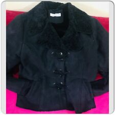 Balmain Black Faux Sheepskin Suede Leather Button Biker Jacket Coat Sz 42