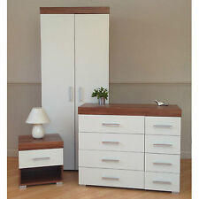 3 Piece White & Walnut Bedroom Set! Wardrobe, 4+4 Drawer Chest, Bedside Table! 8