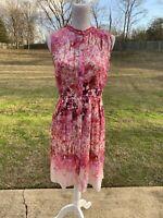 Elie Tahari Pink Floral Pleated Crochet Trim 100% Silk Sheath Dress Size 6 Small
