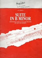 BACH FLUTE & KEYBOARD 2 Sheet Music Book SET: SUITE in B MINOR [7 pieces]