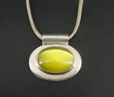 Taxco Necklace Large Yellow Cats Eye Stone Pendant Sterling Silver Mexico Choker