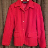 Harve Benard Women Tall 8P Red Wool 3 Button Pockets Long Sleeve Blazer Jacket