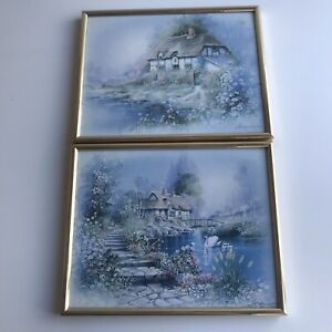 Thatched Cottage Garden Prints x 2 Small Gold Frame Vintage Andres Orpinas